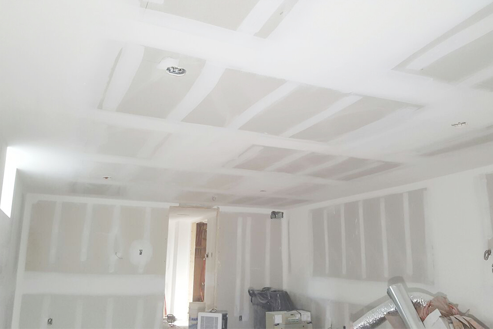 finished drywall in the basement - putting up drywall