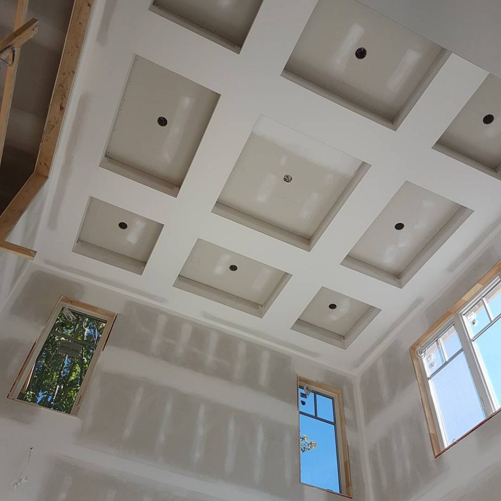 luxury waffle ceiling in custom home by drywall experts