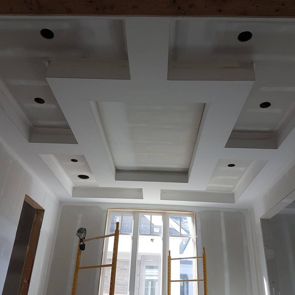 amazing coffered ceiling in custom family room - drywalling a ceiling