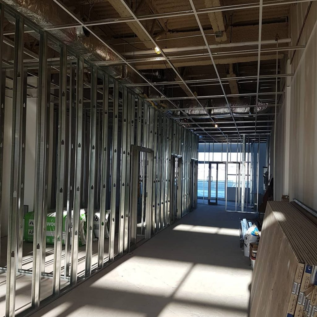 interior framing of commercial building - commercial drywall contractors toronto