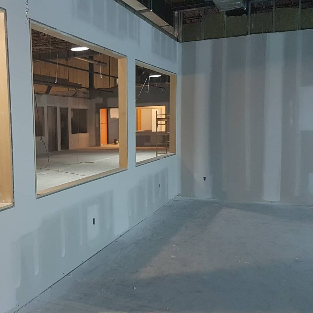 commercial building renovation with drywall installation markham