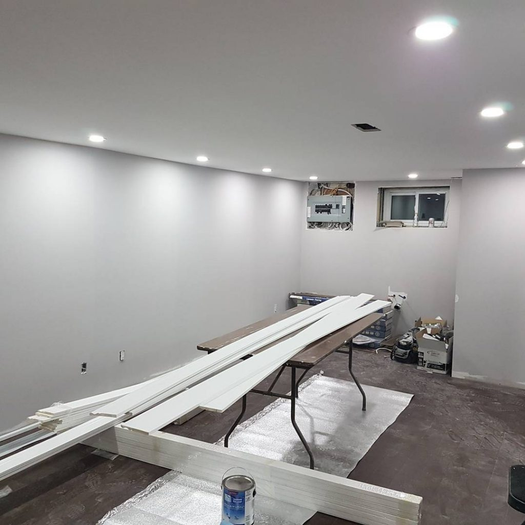 basement finishing - finished drywall with painting and potlights - residential drywall company