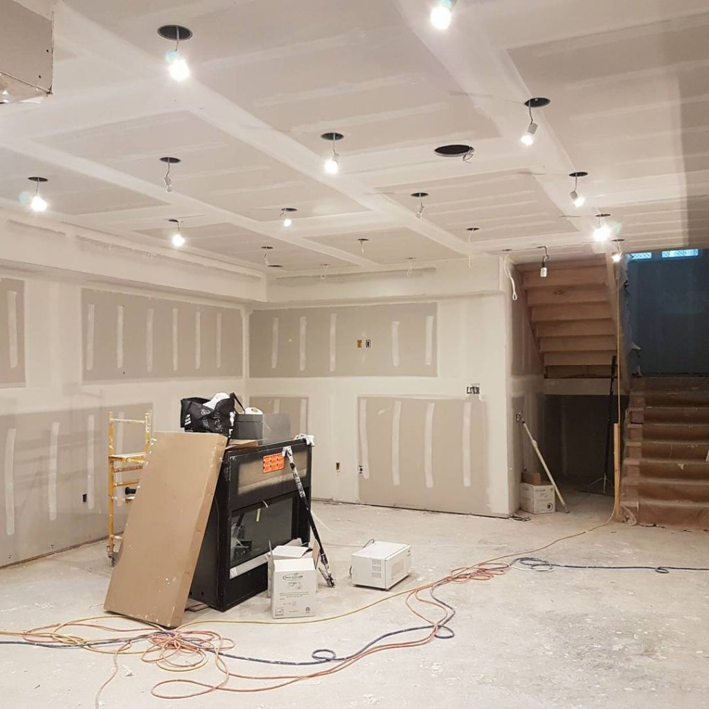 basement ceiling pot light installation in new drywall ceiling