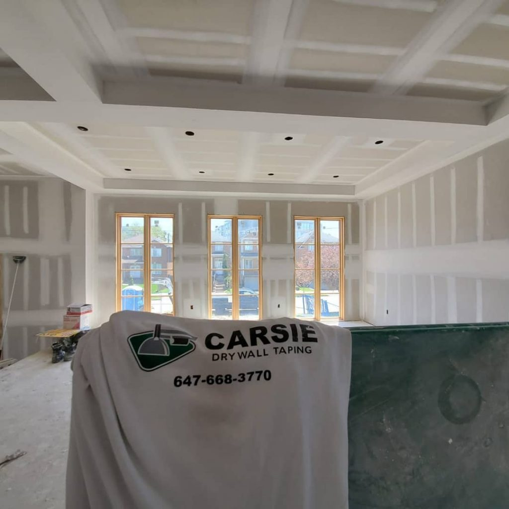 drywall installation in new custom home - drywall contractors
