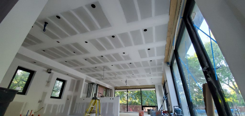 custom home ceiling and wall drywall installation