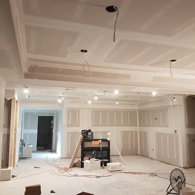 home basement with luxury finished drywall - drywall contractors gta