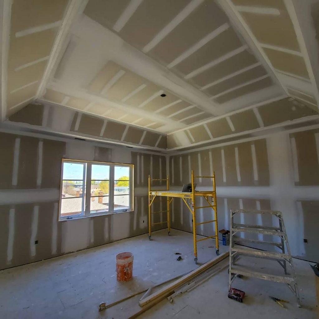 second floor of custom home drywall install - drywall contractors toronto