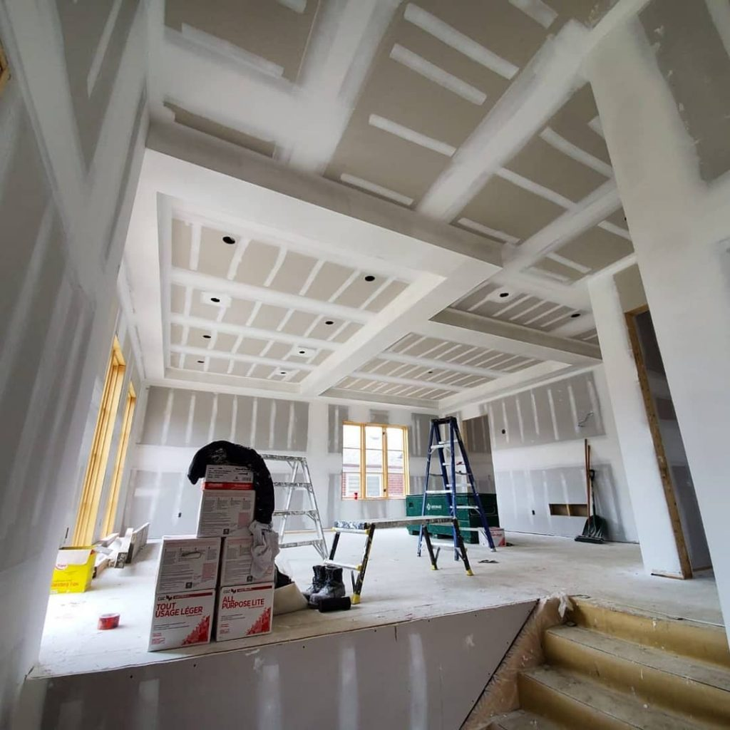 luxury home drywall installation in family room - drywall contractors mississauga