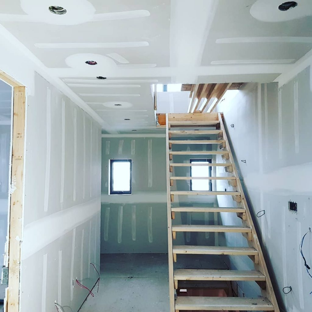basement staircase and drywall installation - drywall companies